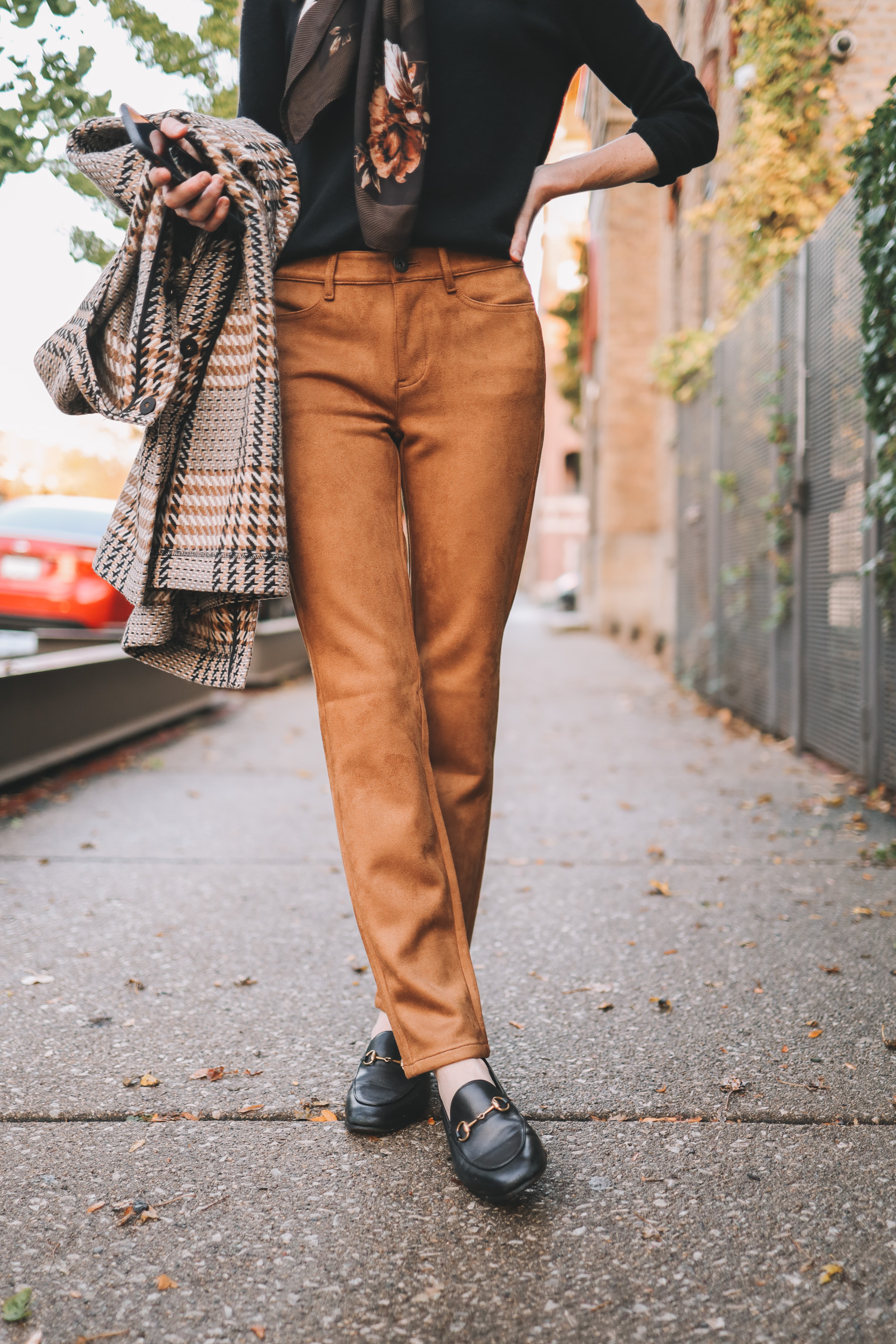 J.Jill Plaid Coat / Suede Leggings