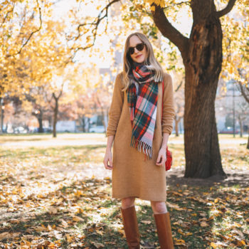 $34.50 Camel Sweater Dress + 50% Off Favorite Scarf + Riding Boots