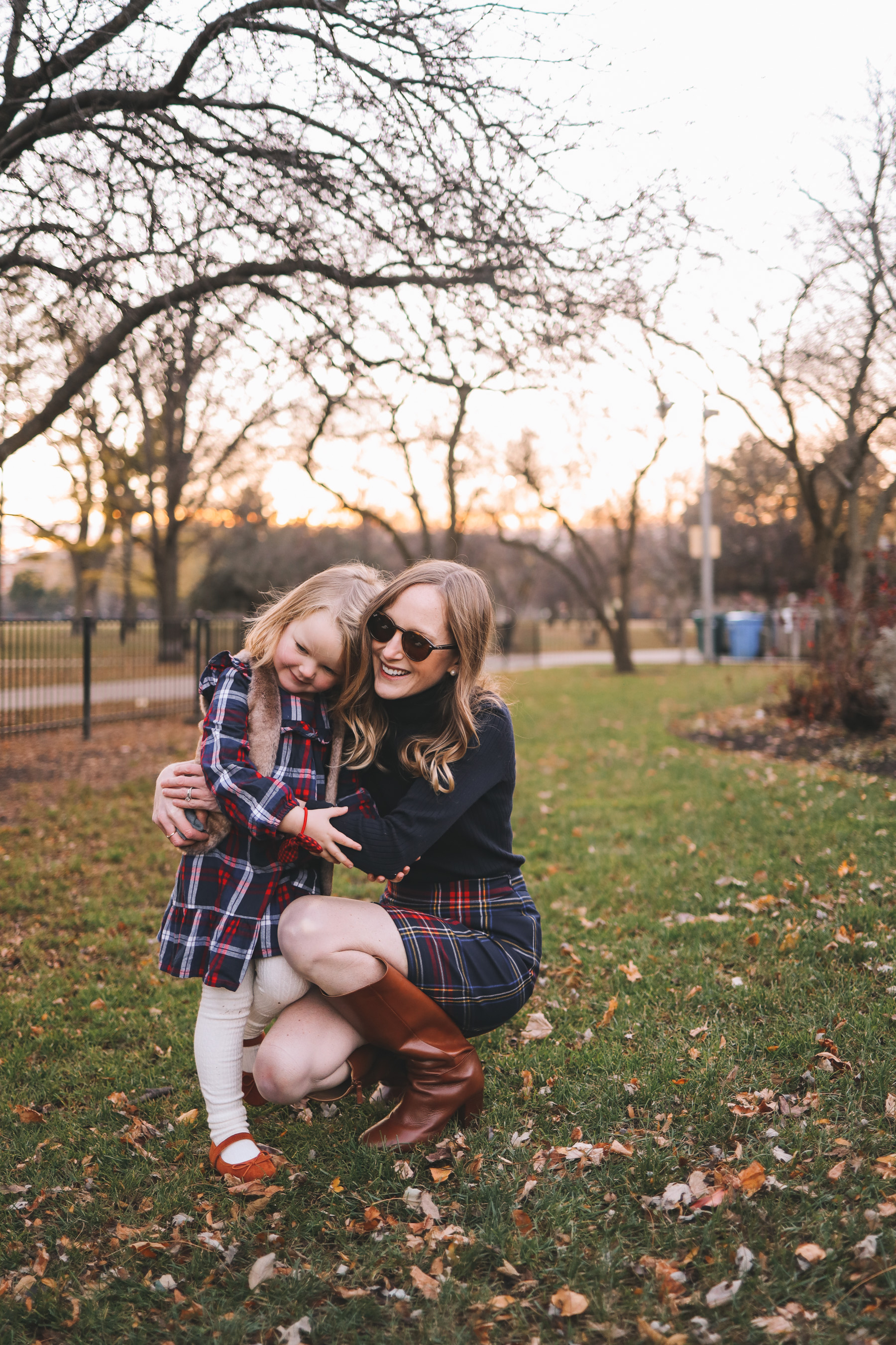 mother and daughter in tartan
