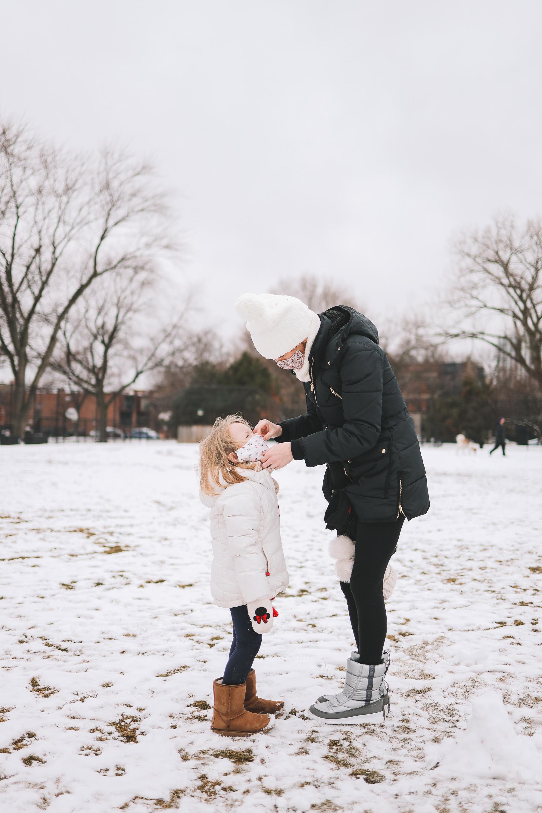 Oz Park Snow Day with kids