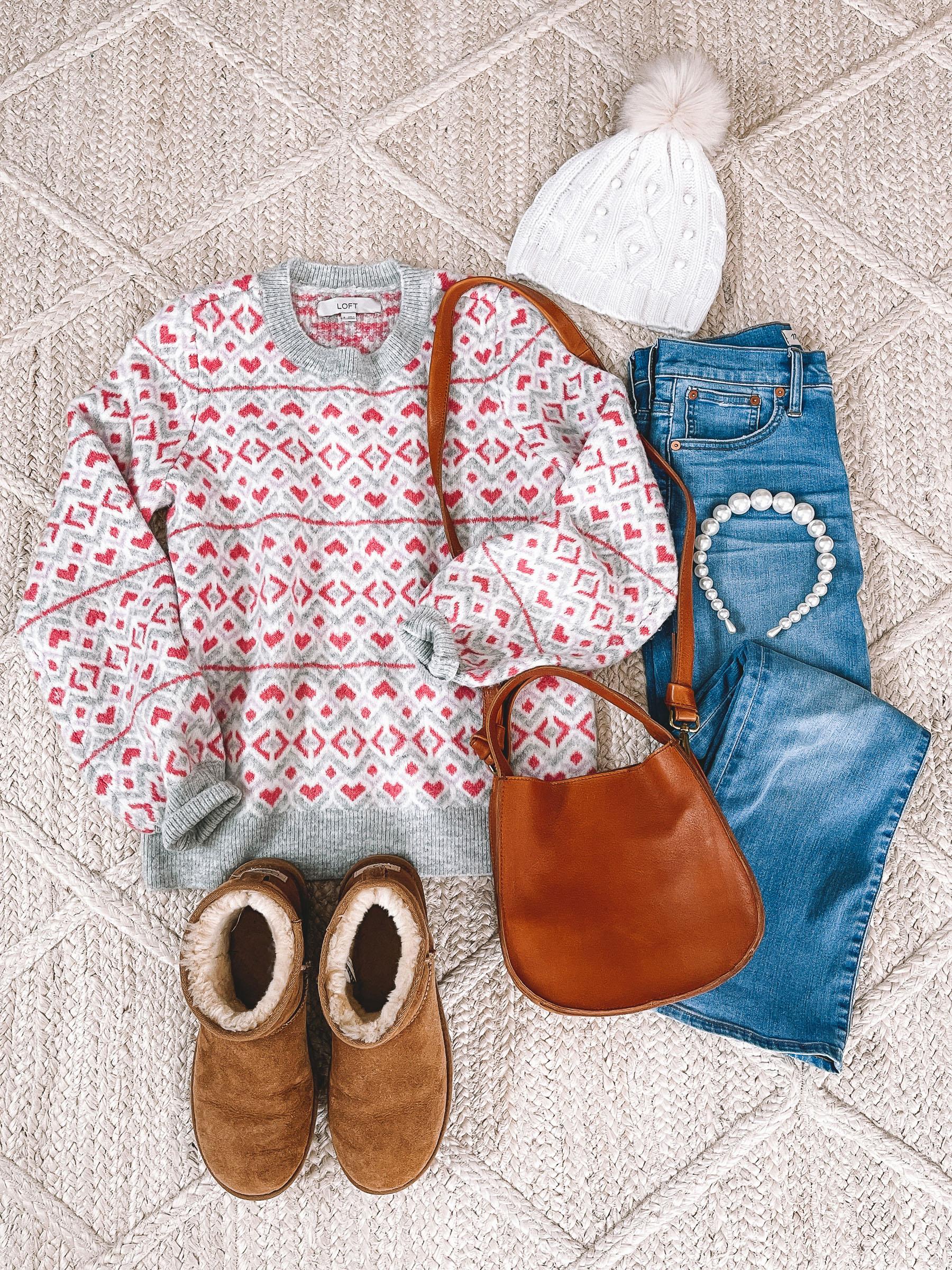 LOFT Heart Sweaters: Pink Hearts
