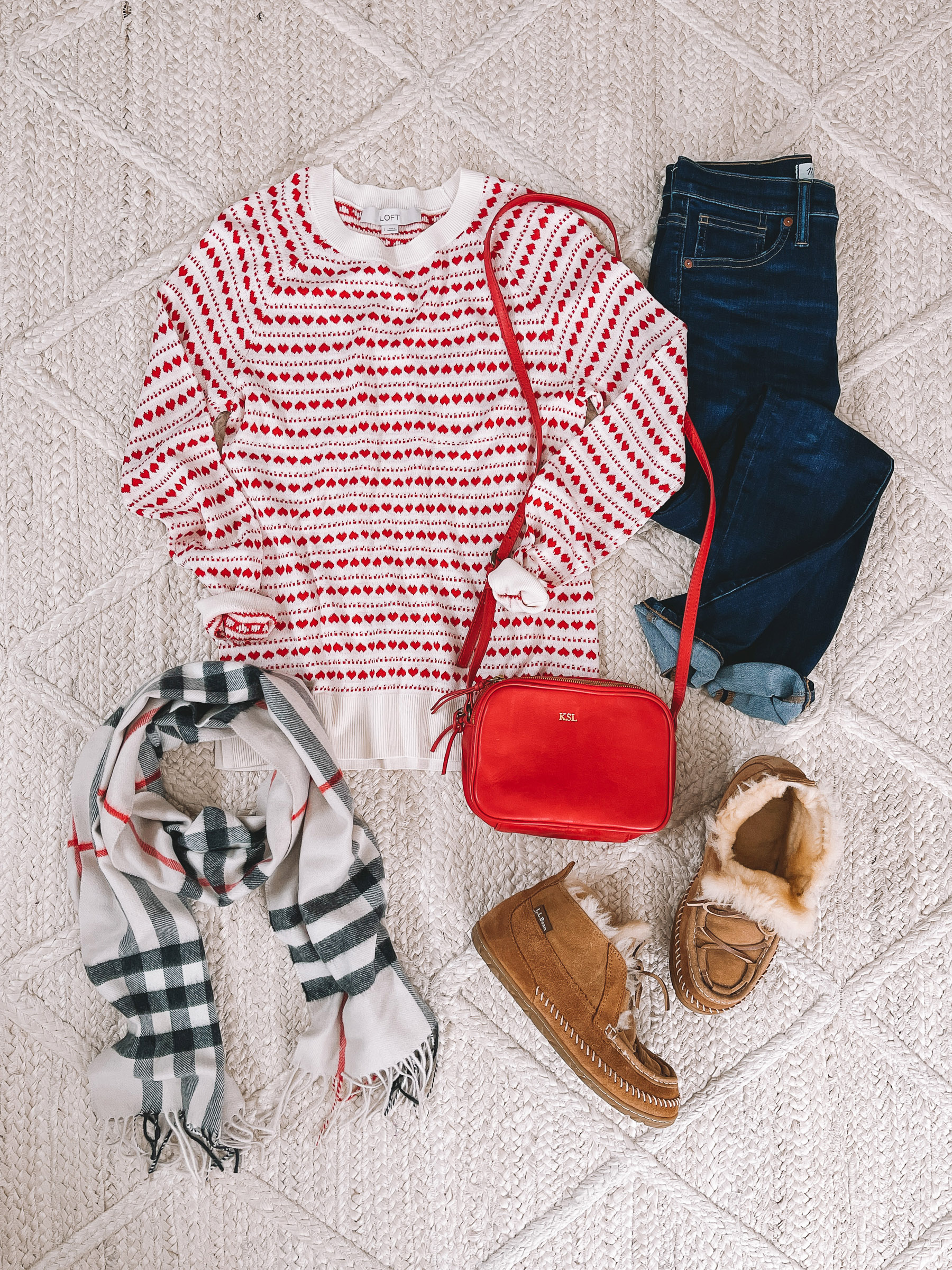 LOFT Heart Sweaters: Red Hearts and Stripes   10 Preppy Valentines Day Outfits