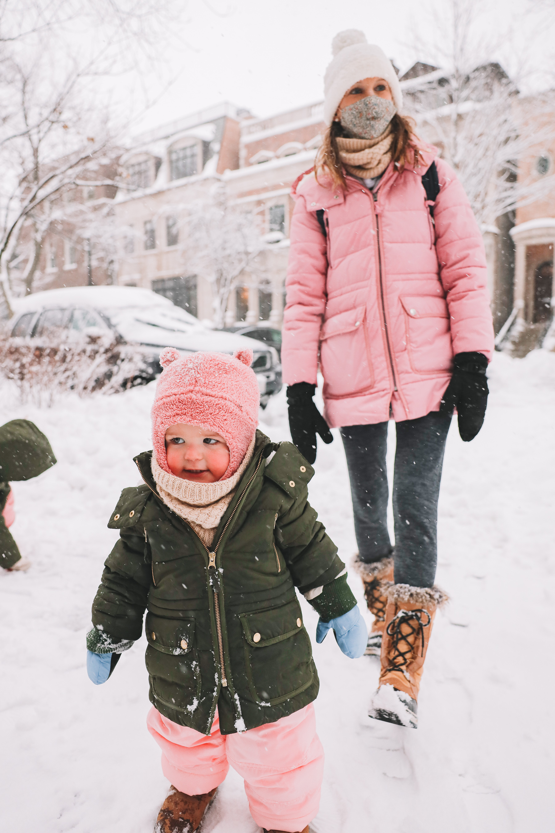 pink mommy and baby winter gear