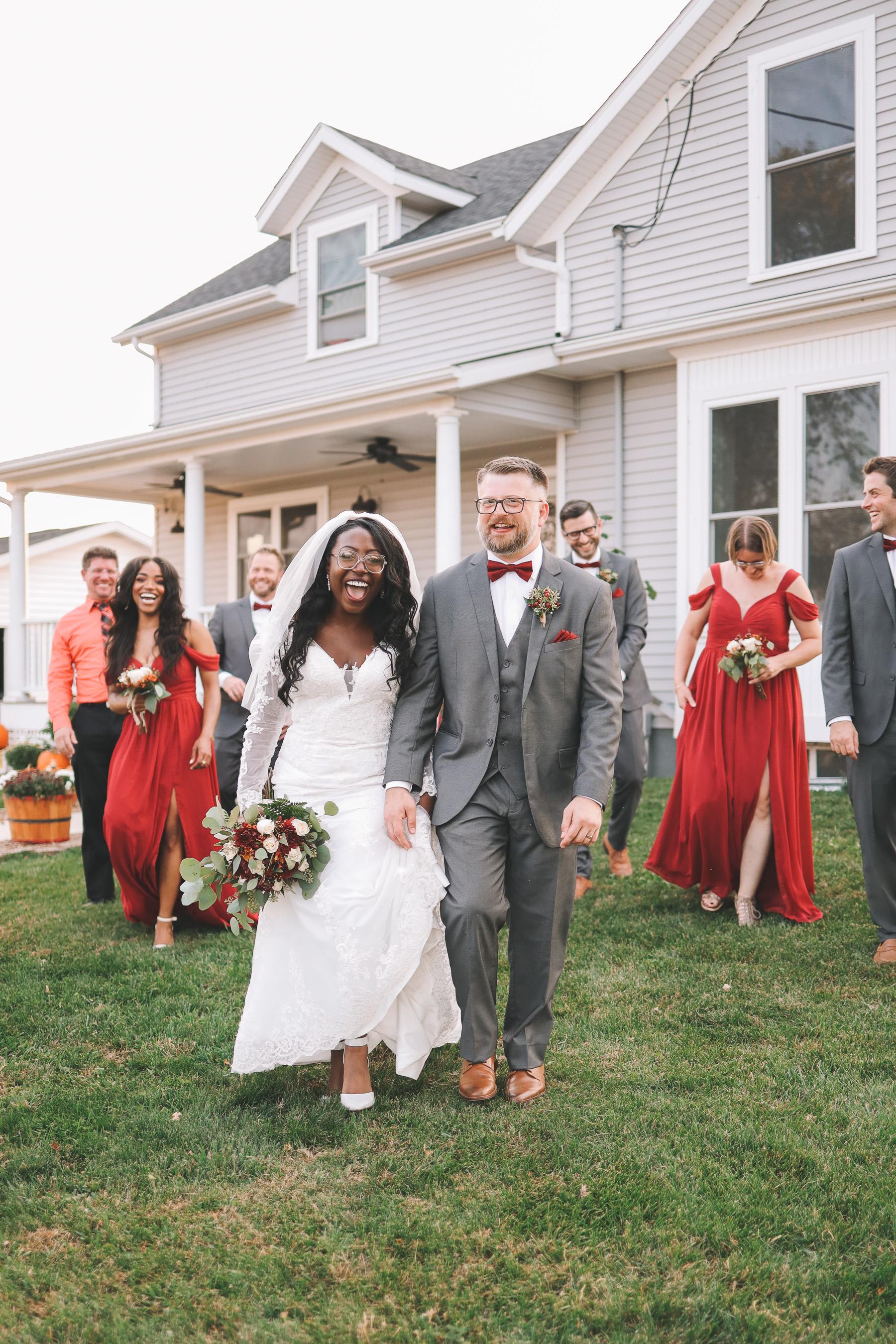 husband and wife with entourage