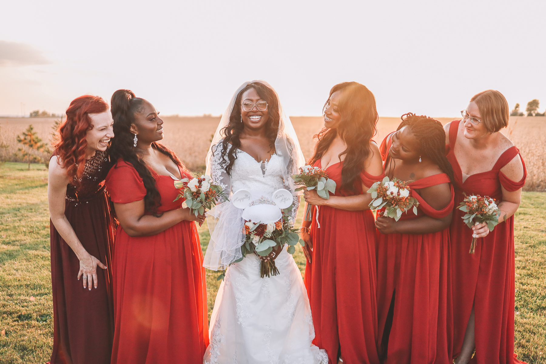bride and entourage