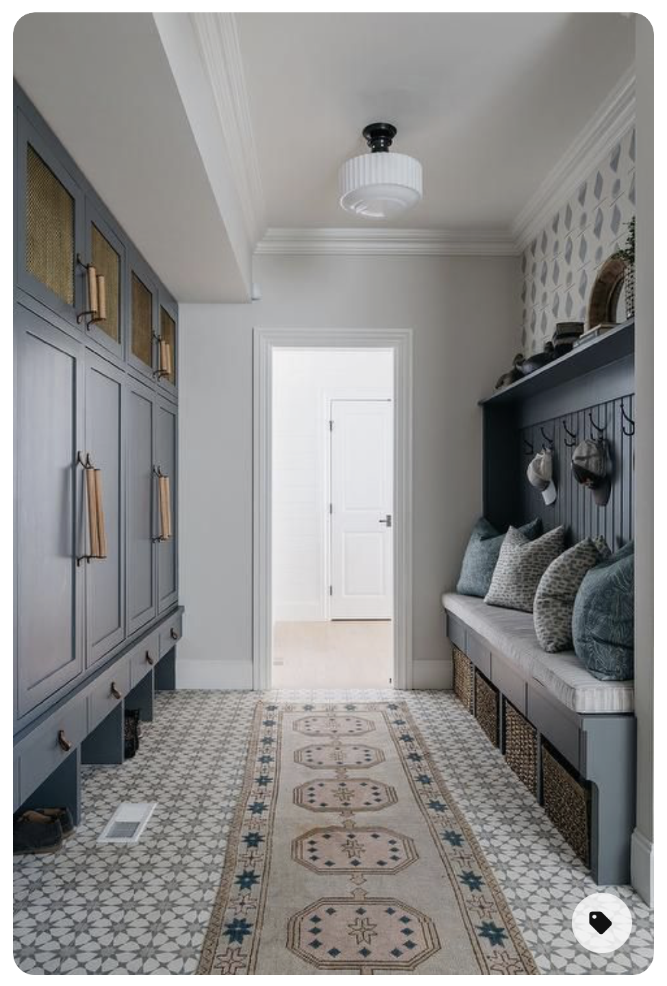 blue mudroom with hooks design