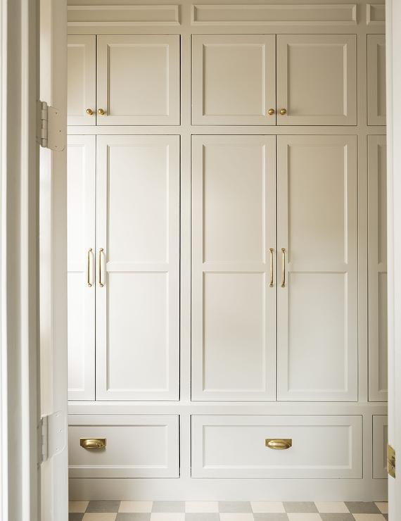 minimalist mudroom with cabinets