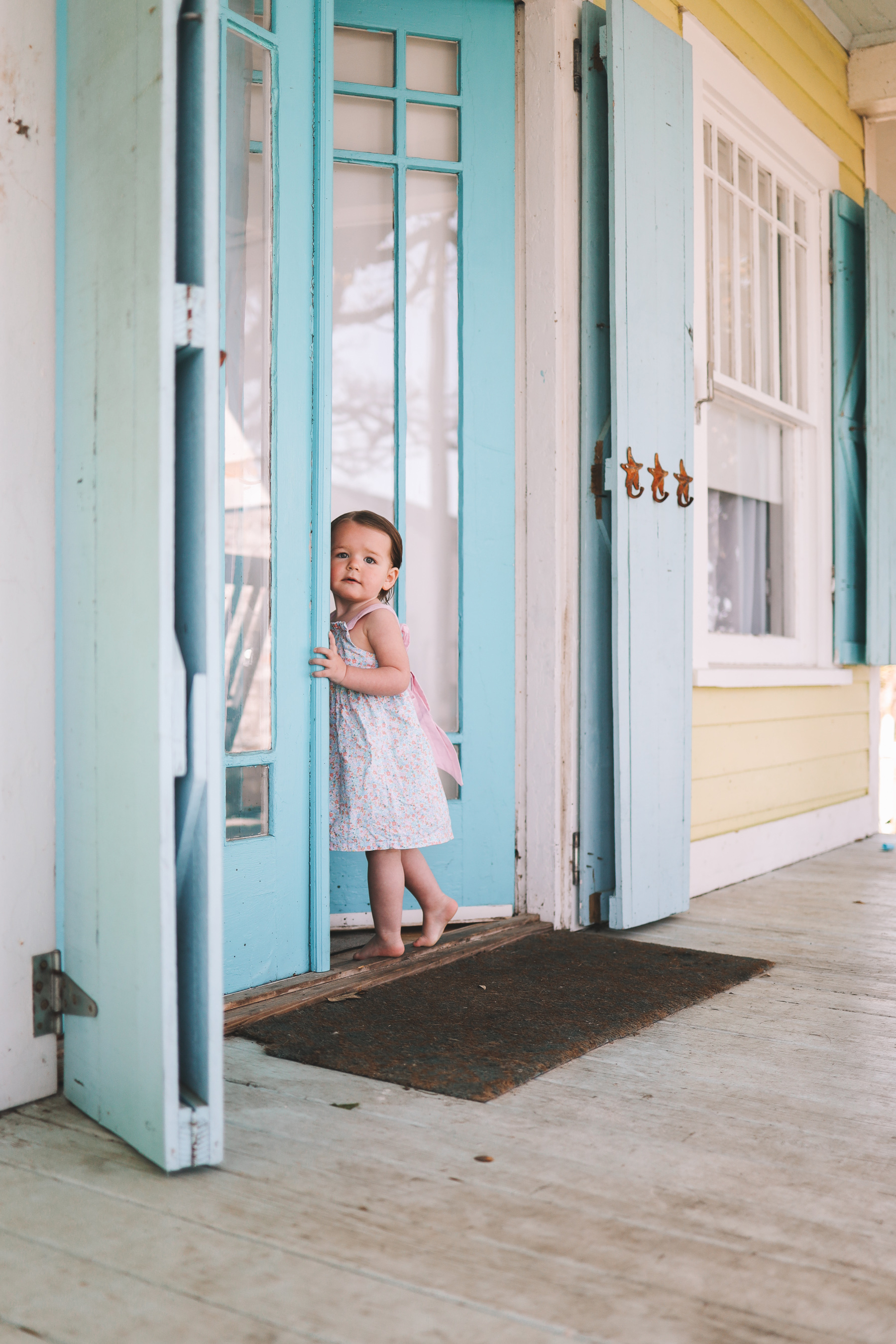 toddler in vacation house
