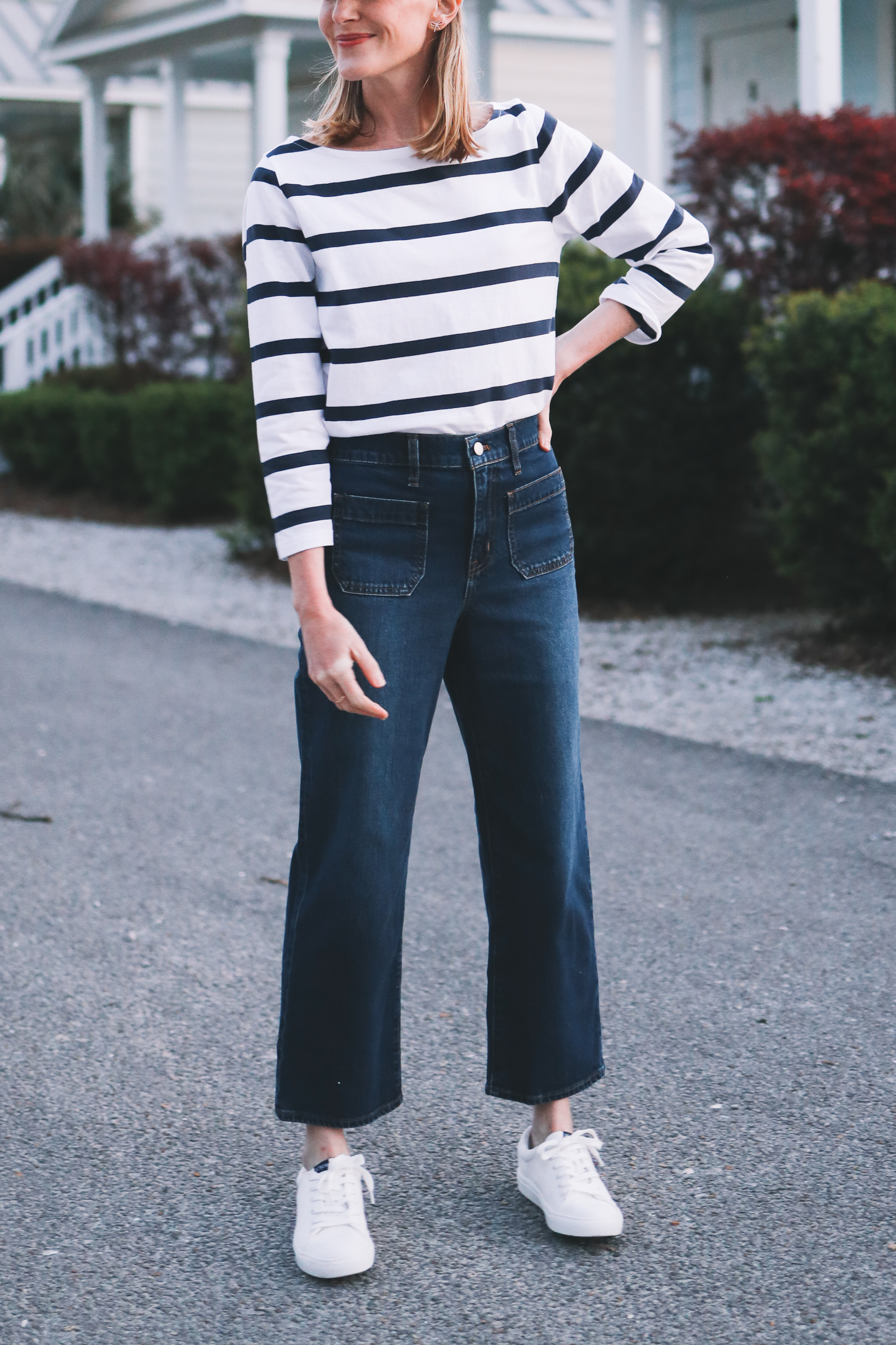 how to wear cropped wide leg jeans | Spring Date Night Outfit