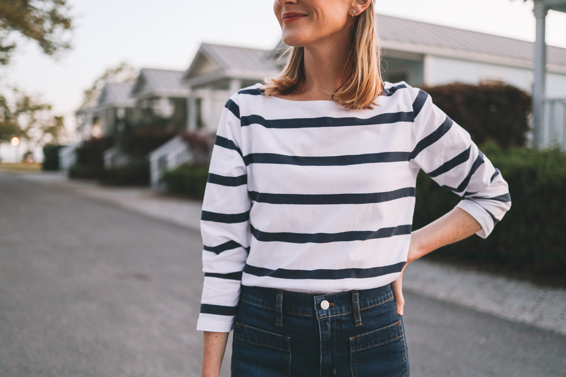 Striped Boatneck Top | Spring Date Night Outfit