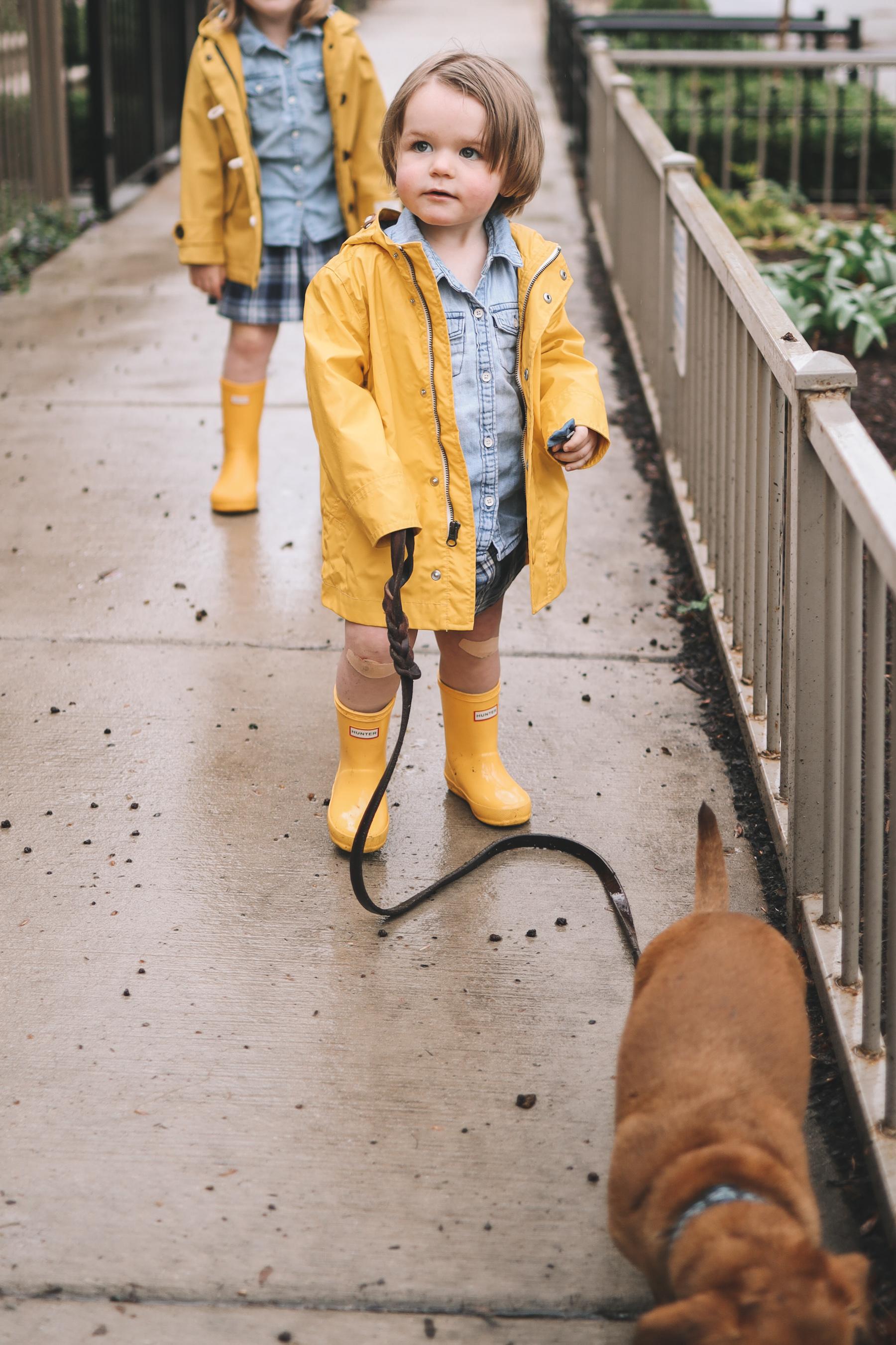 kids yellow rain gear