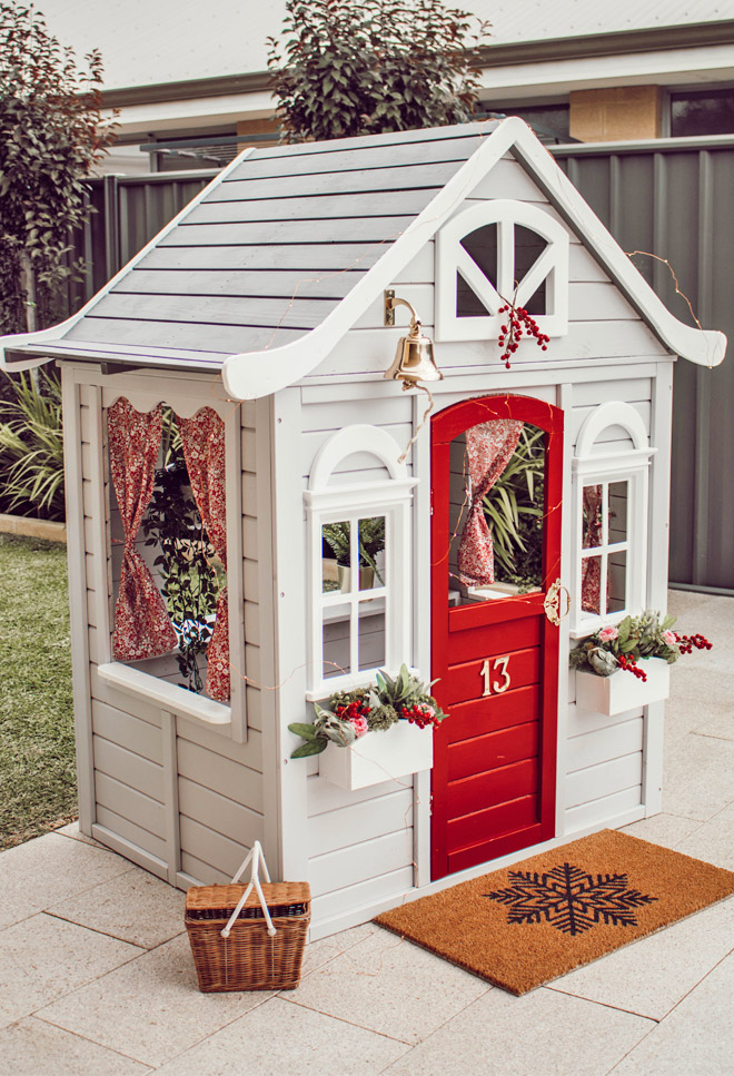 white and red playhouse