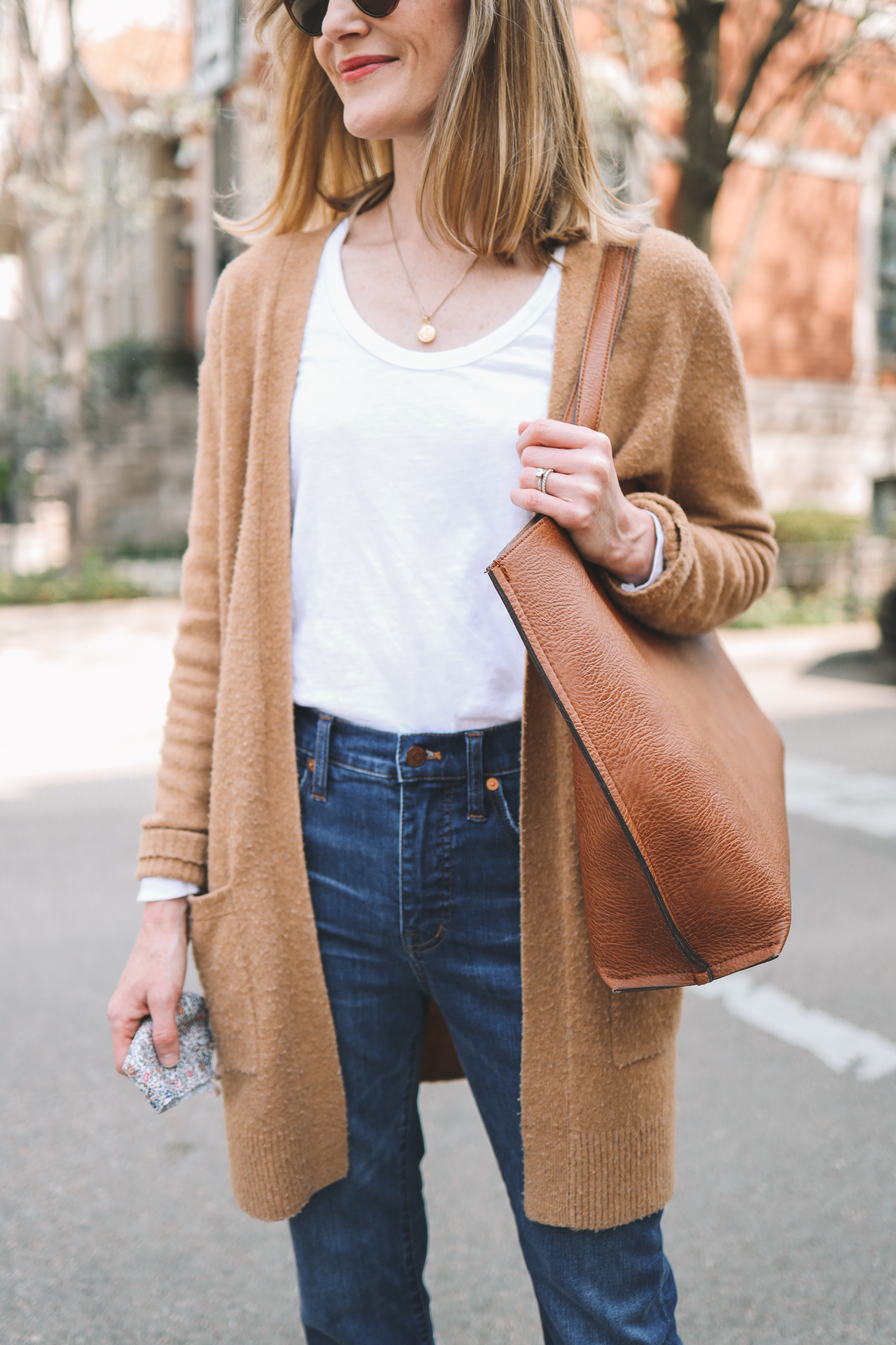 white tee and cardigan for spring