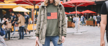 Casual Americana Travel Outfit | Tuckernuck Green Flag Sweater