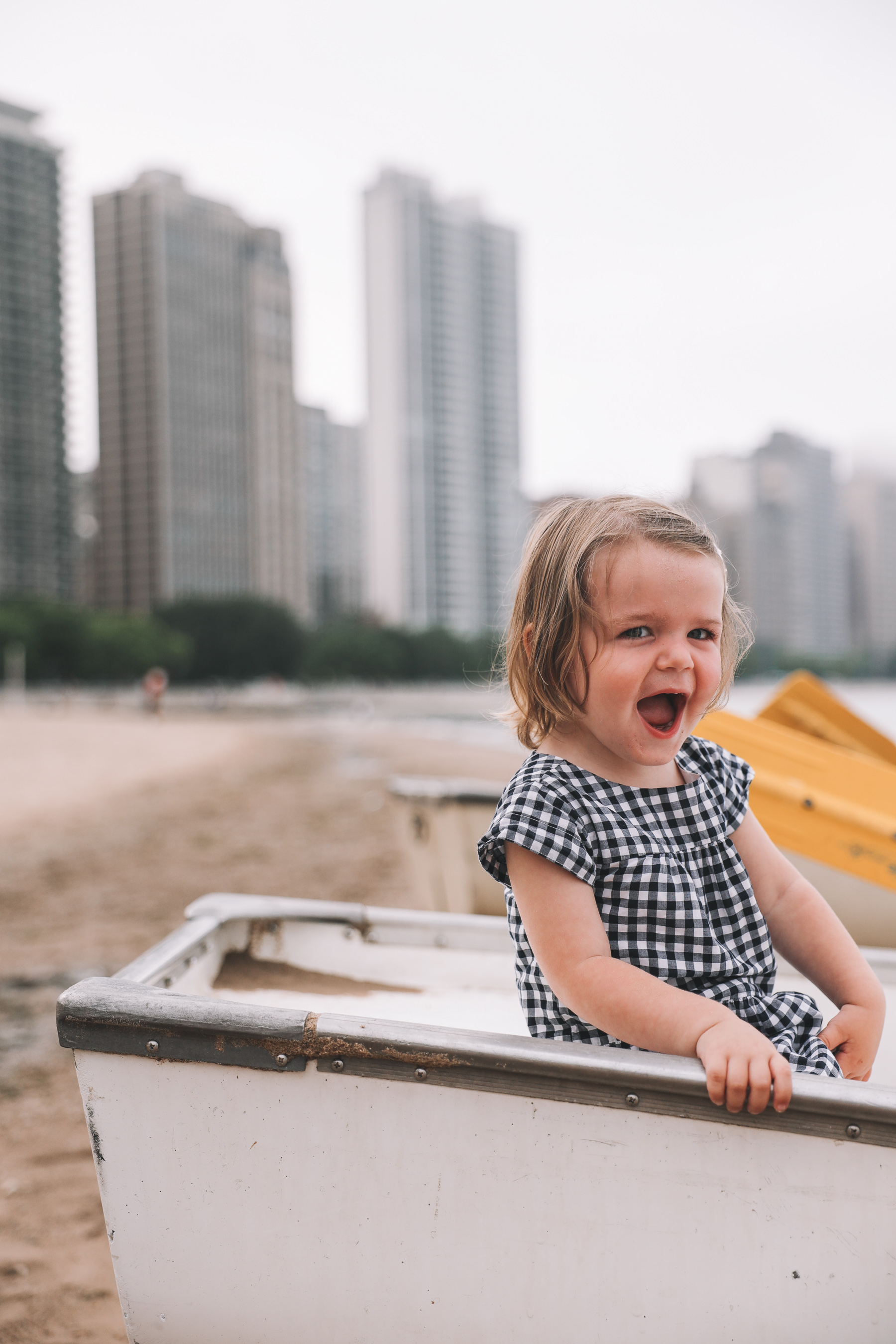 Happy kid at Oak Street Beach