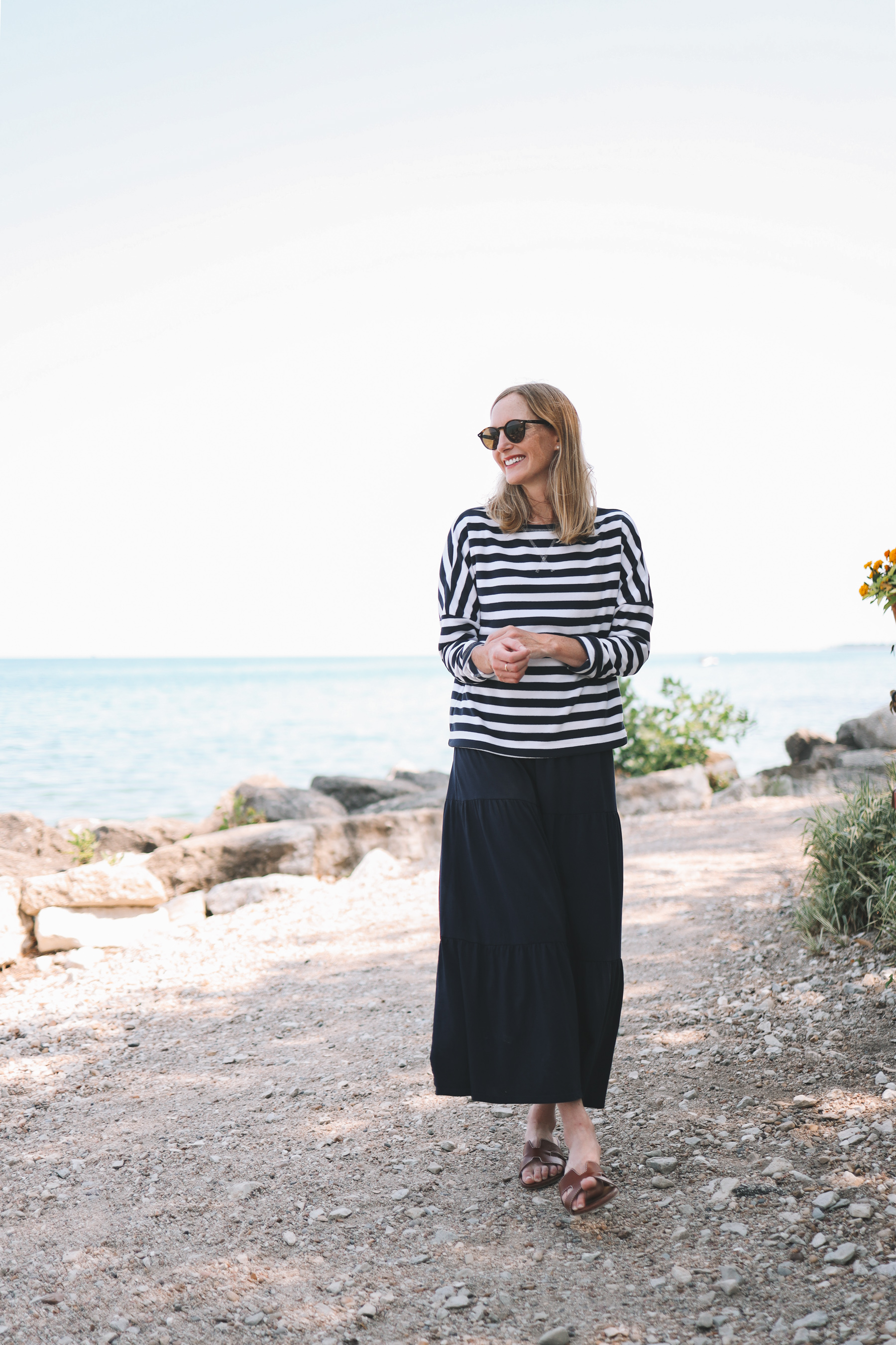 longsleeves over tiered dress