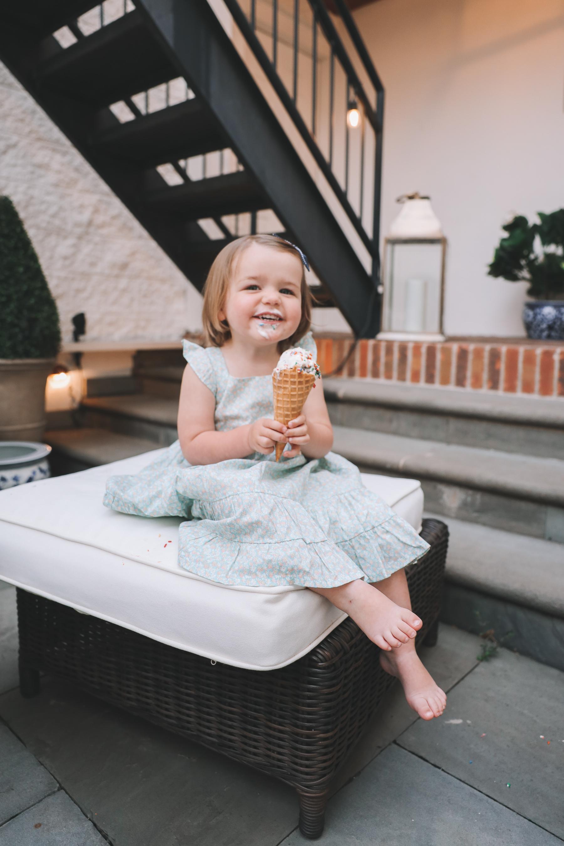 toddler enjoying ice cream