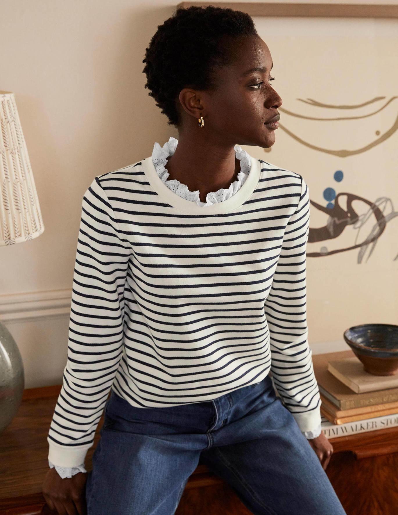 Striped Ruffle-Collar Sweatshirt | Recent Finds 8/13