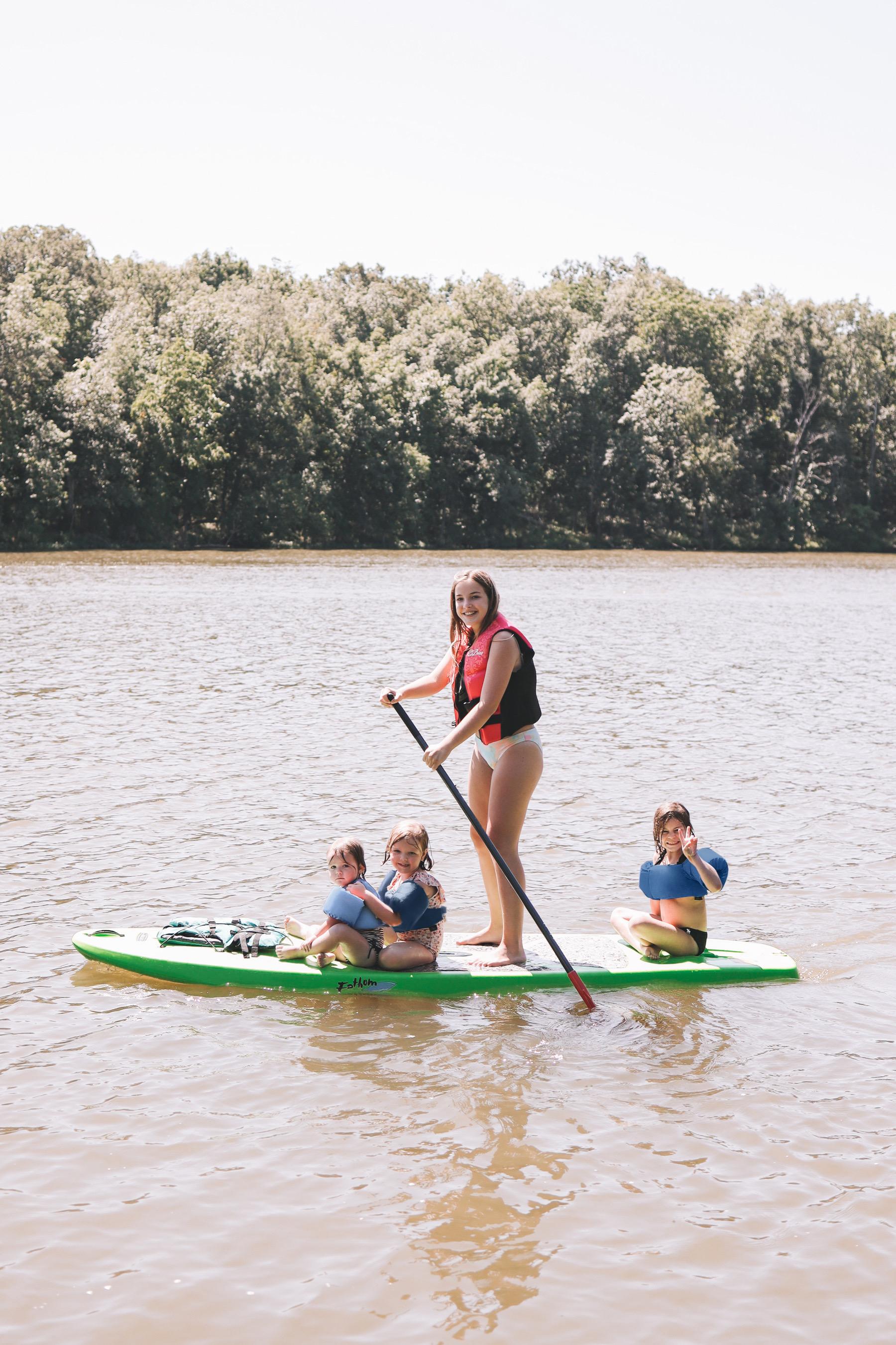 Kids paddle boarding Gammy Camp 2021