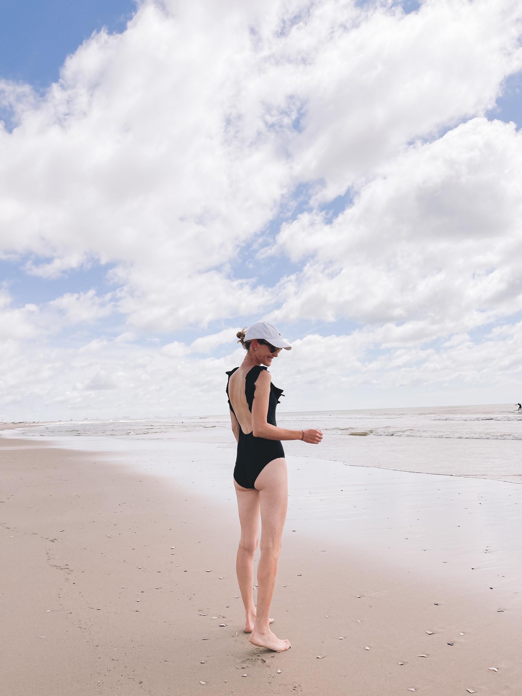 womens black ruffled swimsuit