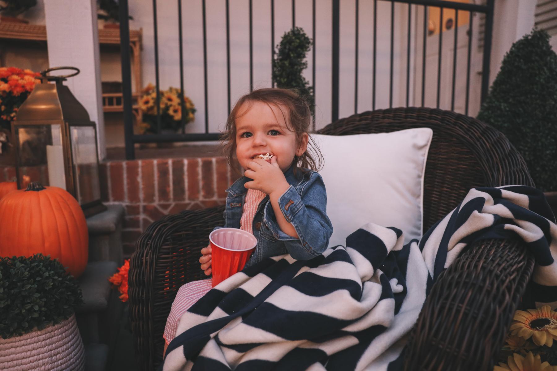 Lucy enjoying some popcorn